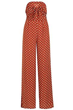 Polka Dot Bow Tie Wide Leg Jumpsuit