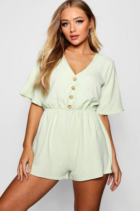 Horn Button Front Flippy Playsuit