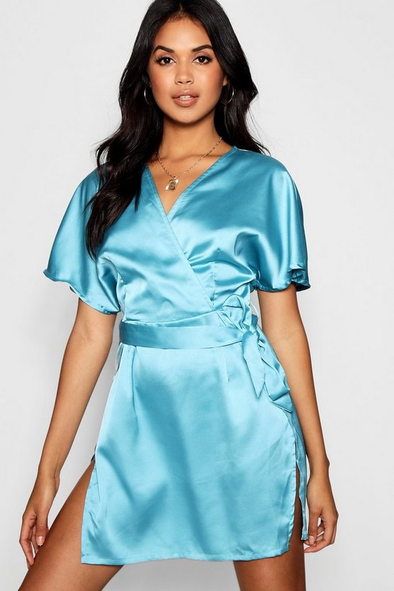 Satin Wrap Detail Belted Dress