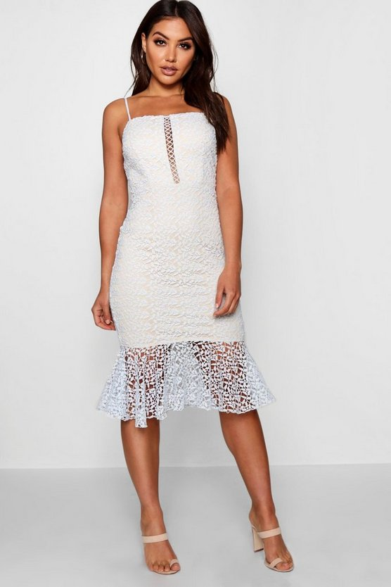 Lace Sqaure Neck Ruffle Hem Midi Dress