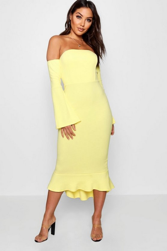 Off the Shoulder Flared Sleeve Midi Dress