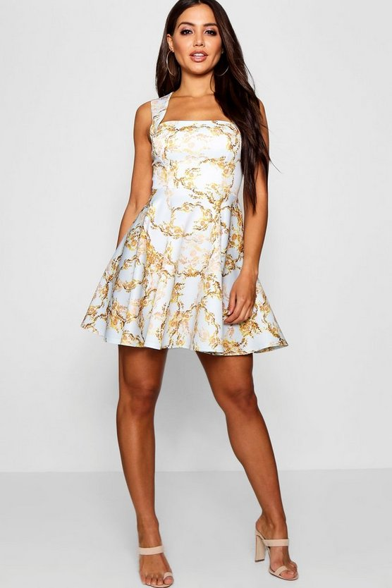 Vine Chain Print Square Neck Skater Dress