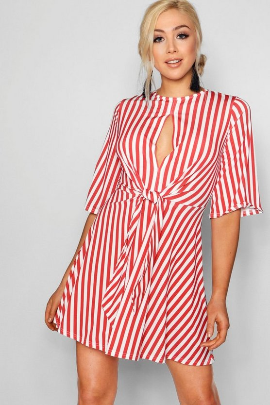 Aurora Striped Keyhole Knot Front Skater Dress