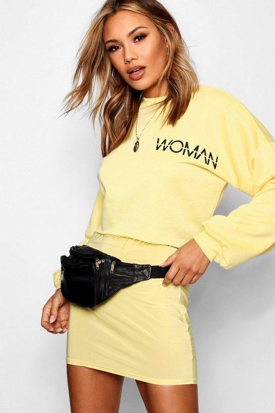 Woman Slogan Open Back Sweat Top