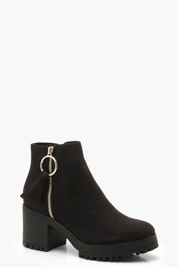 Black O Ring Zip Trim Cleated Ankle Shoe Boots
