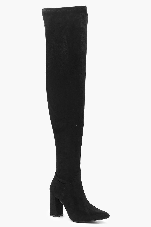 Купить Thigh High Block Heel Boots, boohoo