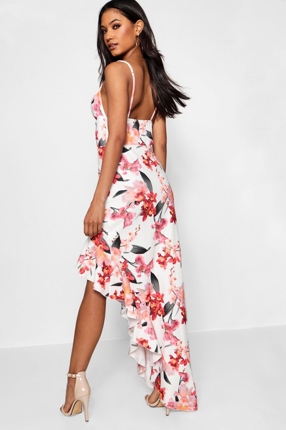 Boohoo Floral Strappy Frill Detail Maxi Dress Popular Sale Online Outlet 2018 Unisex Outlet Find Great For Cheap Cheap Online 579TJzX