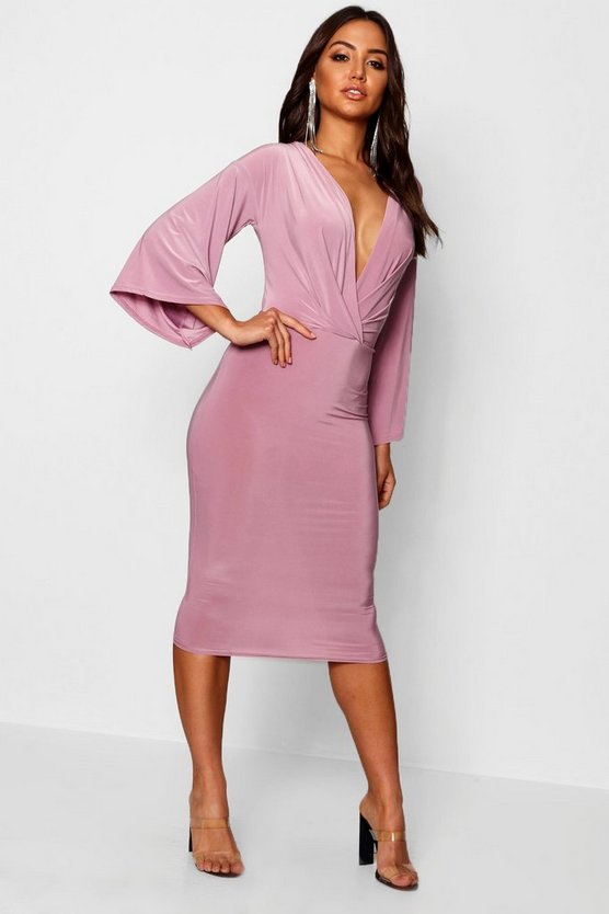 Josie Wrap Flared Sleeve Midi Dress