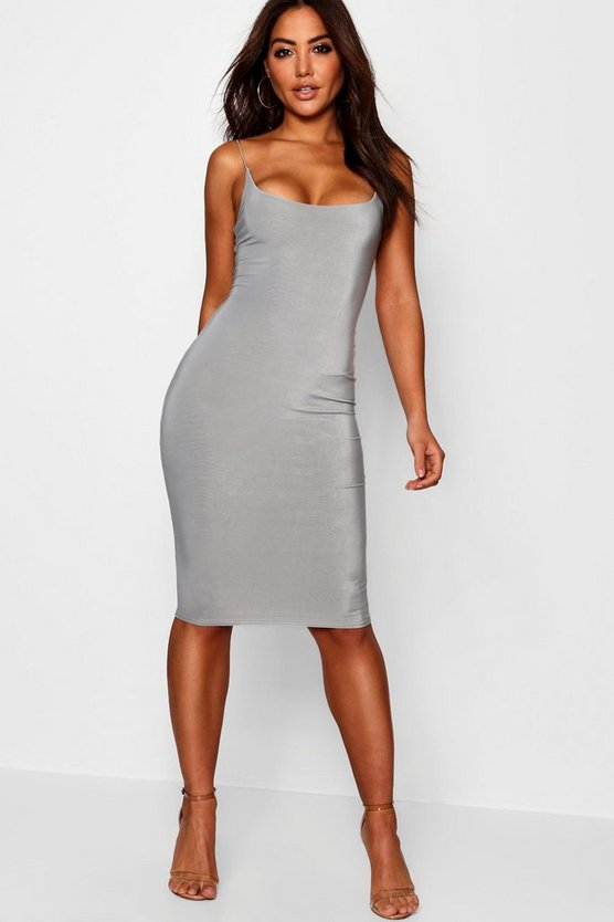 Slinky Double Layer Strappy Midi Dress