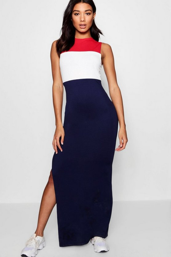 Sports Colour Block Maxi Dress