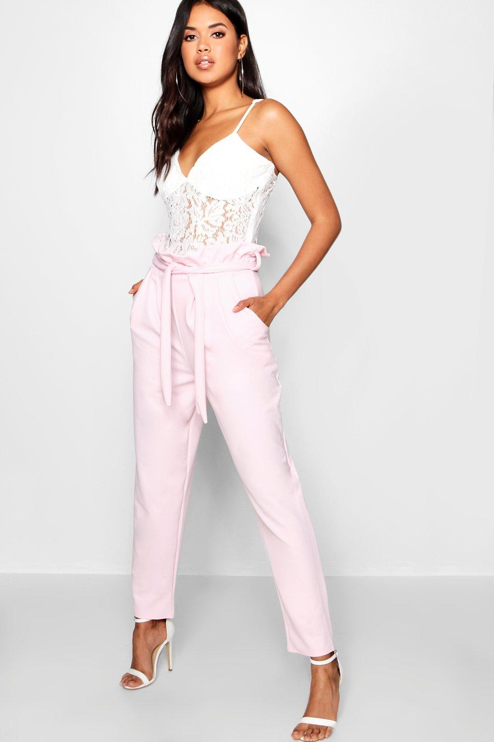 Womens Hose mit Paperbag-Taille - rosa - 38, Rosa - Boohoo.com