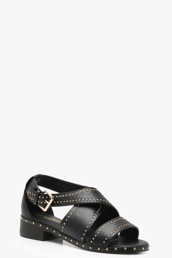 Saskia Studded Cross Strap Sandals