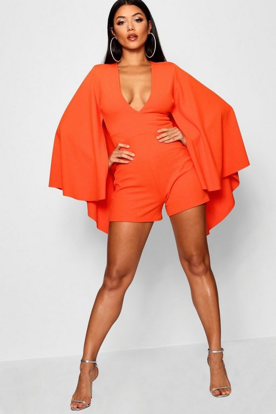 Extreme Cape Sleeve Plunge Playsuit