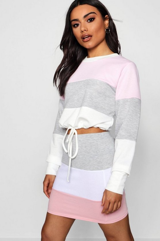 Athleisure Colour Block Crop Sweat