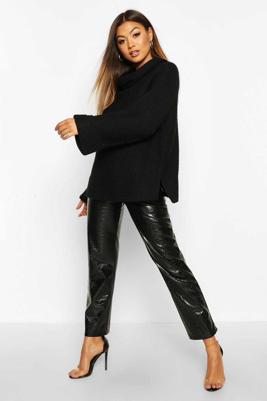 Womens Pullover mit Wasserfallausschnitt und seitlich geschlitztem Saum - schwarz - XS, Schwarz - Boohoo.com