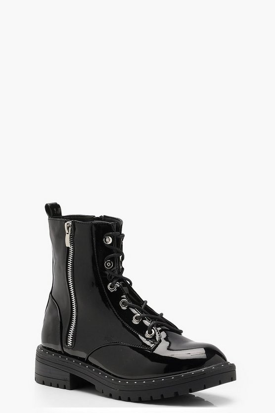 Lauren Patent Lace Up Hikers by Boohoo