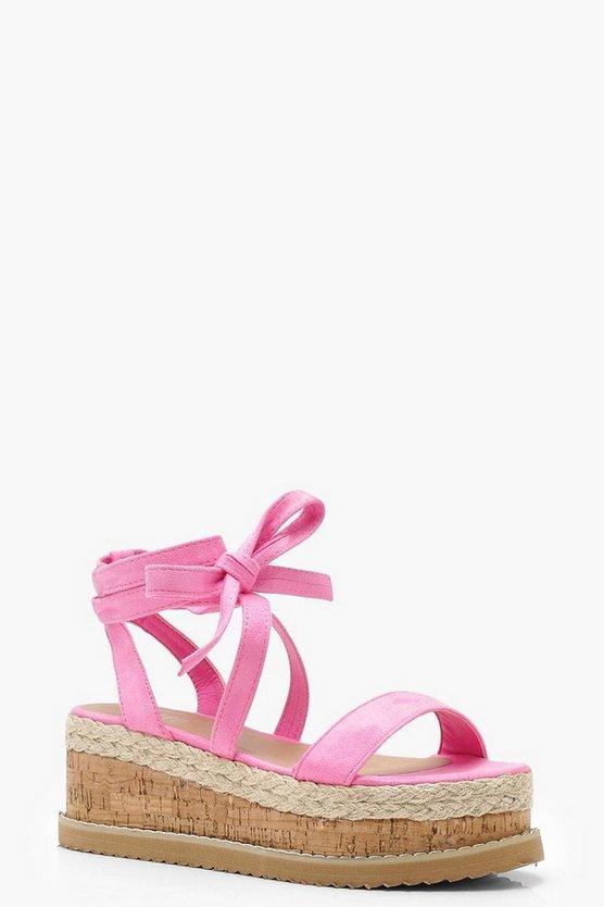 Hollie Flatform Espadrille Tie Up Sandals by Boohoo