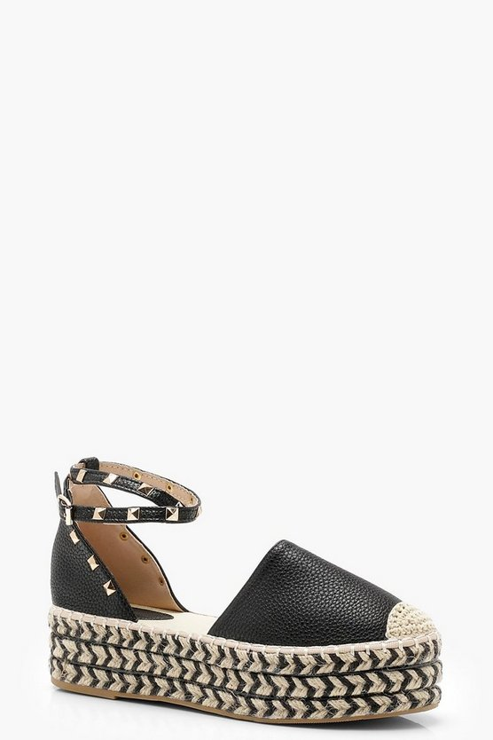 Layla Studded Espadrille Flatforms by Boohoo