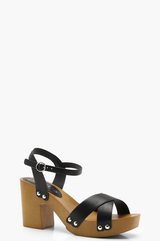 Ruby Cross Strap Stud Trim Platforms