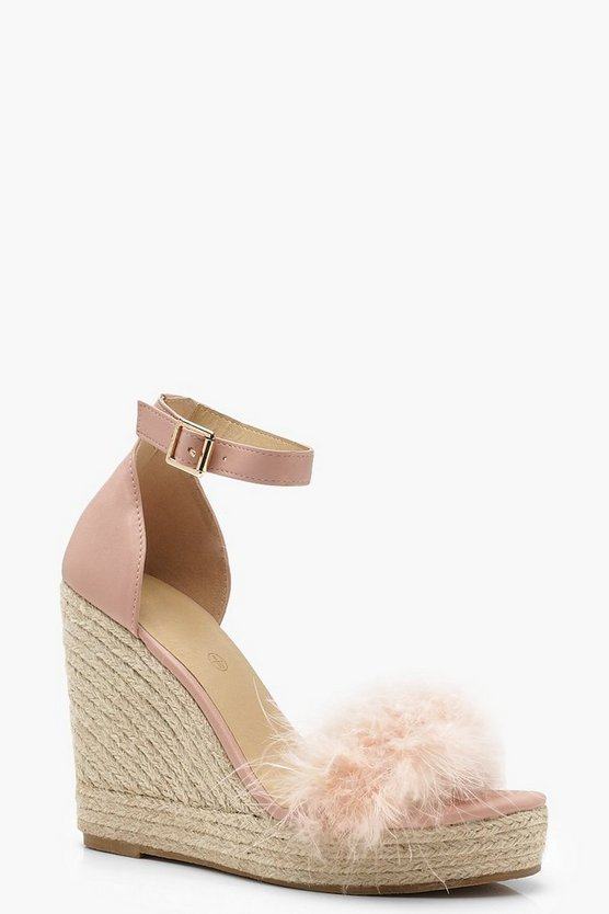 Feather Trim Espadrille Wedges