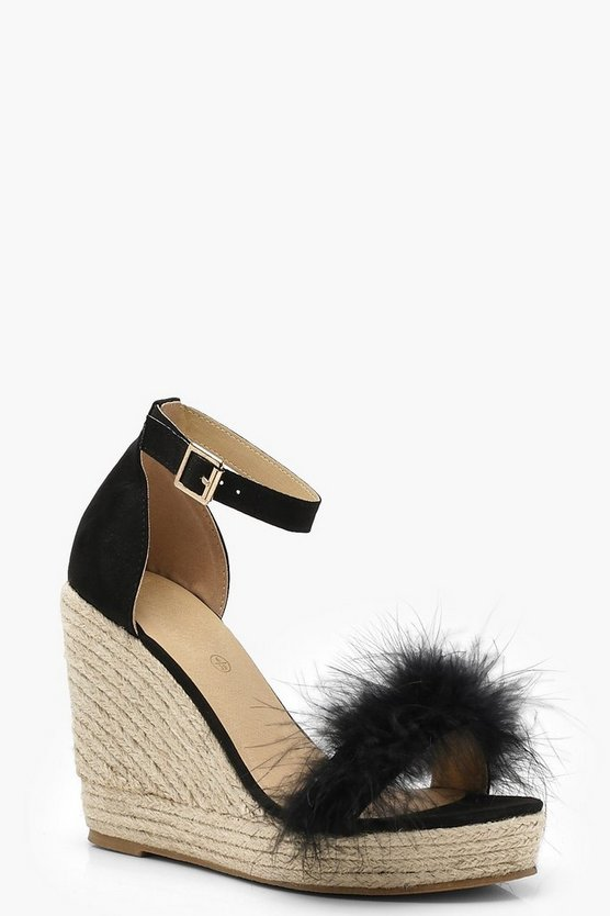 Evie Feather Trim Espadrille Wedges