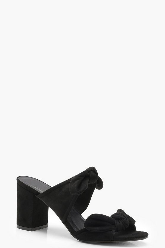 Double Bow Detail Mule Heels