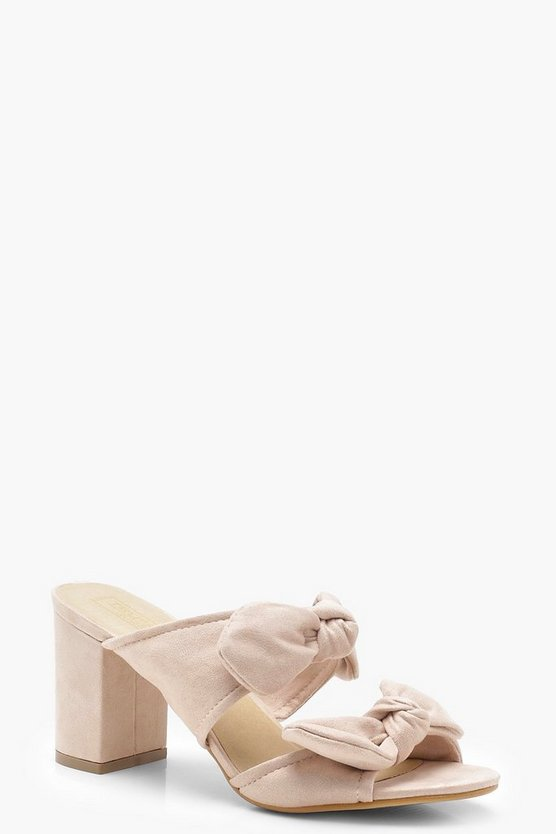 Ella Double Bow Detail Mule Heels