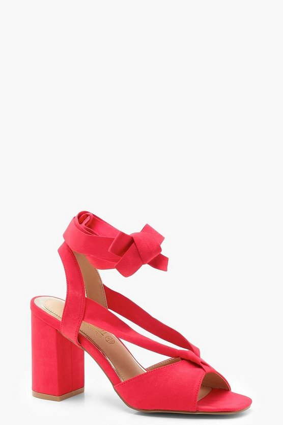 Wide Fit Wrap Strap Block Heels