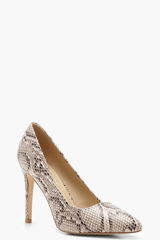 Snake Effect Pointed Court Shoes