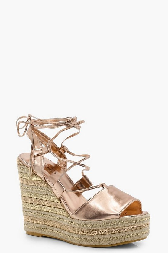 Olivia Tie Up Espadrille Wedges