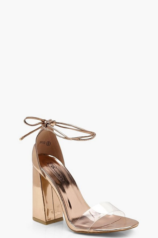 Amber Clear Strap Flared Heels