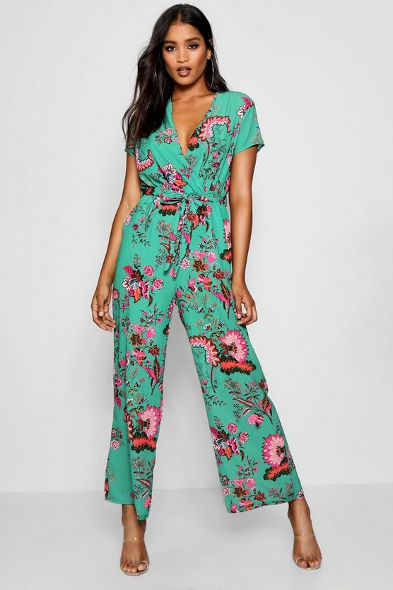 Printed Floral Capped Sleeve Jumpsuit