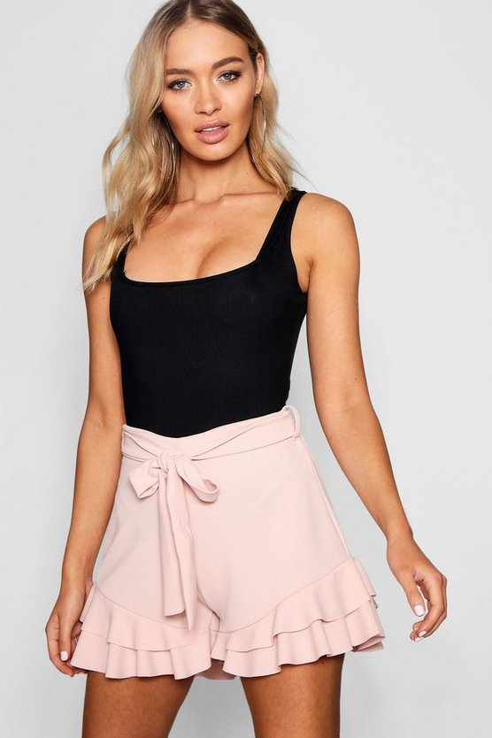 Claudia Ruffle Hem Tie Belt Short