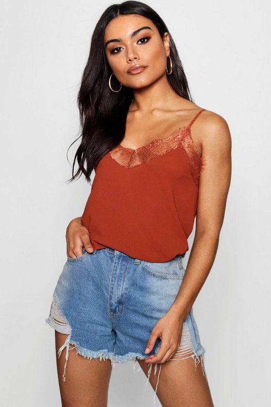 Lily Lace Trim Strappy Cami Top