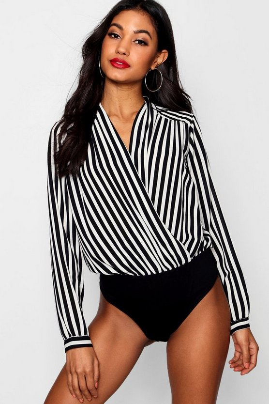 Jessica Striped Wrap Front Blouse Bodysuit