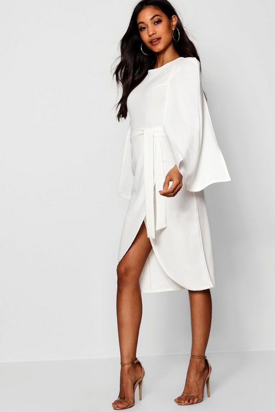 Cape Tailored Belted Midi Dress