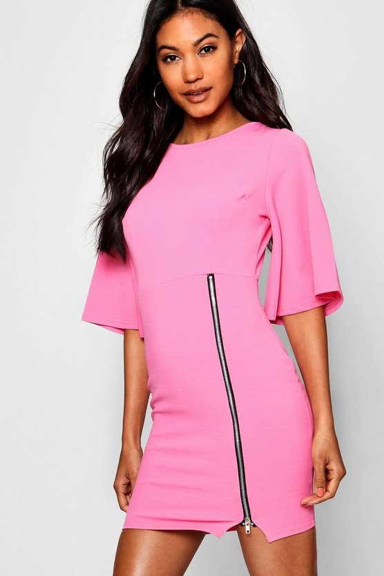 Zip Front Kimono Sleeve Bodycon Dress