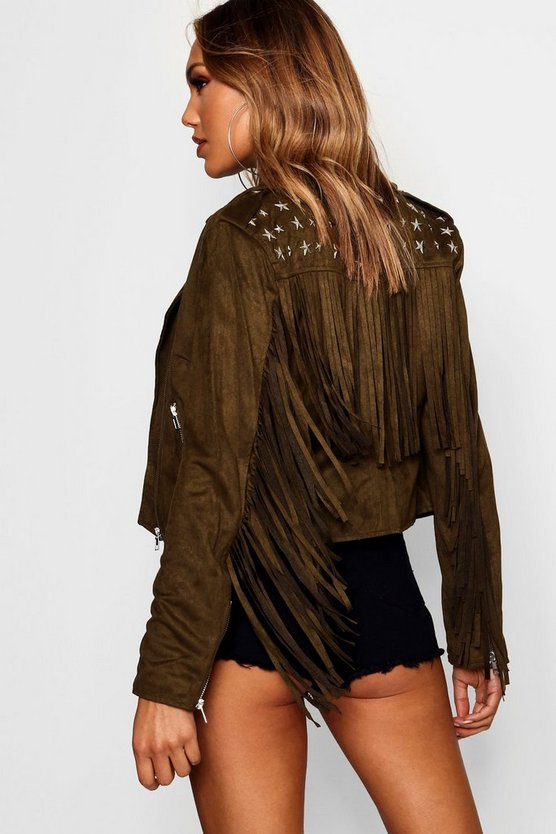 Annie Studded Tassel Faux Suede Jacket