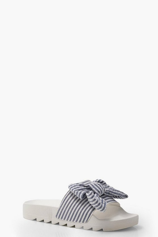 Heidi Bow Stripe Chunky Sliders