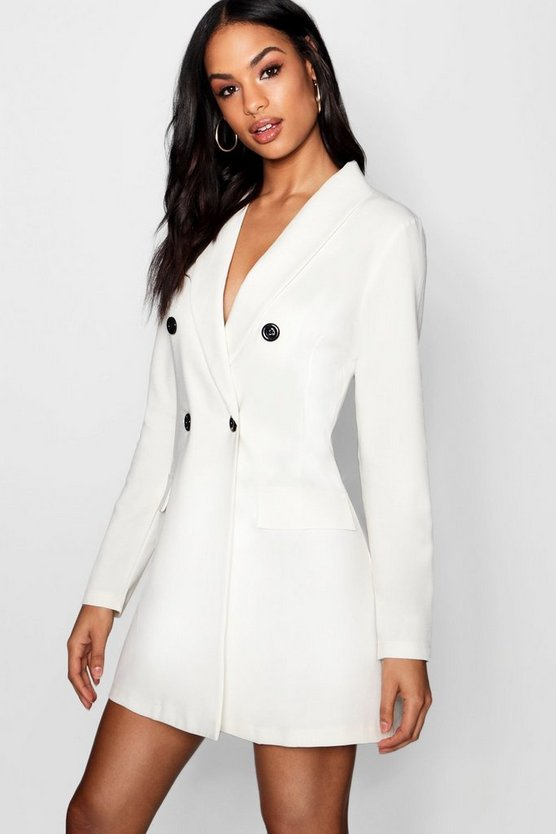 Contrast Button Pocket Detail Blazer Dress