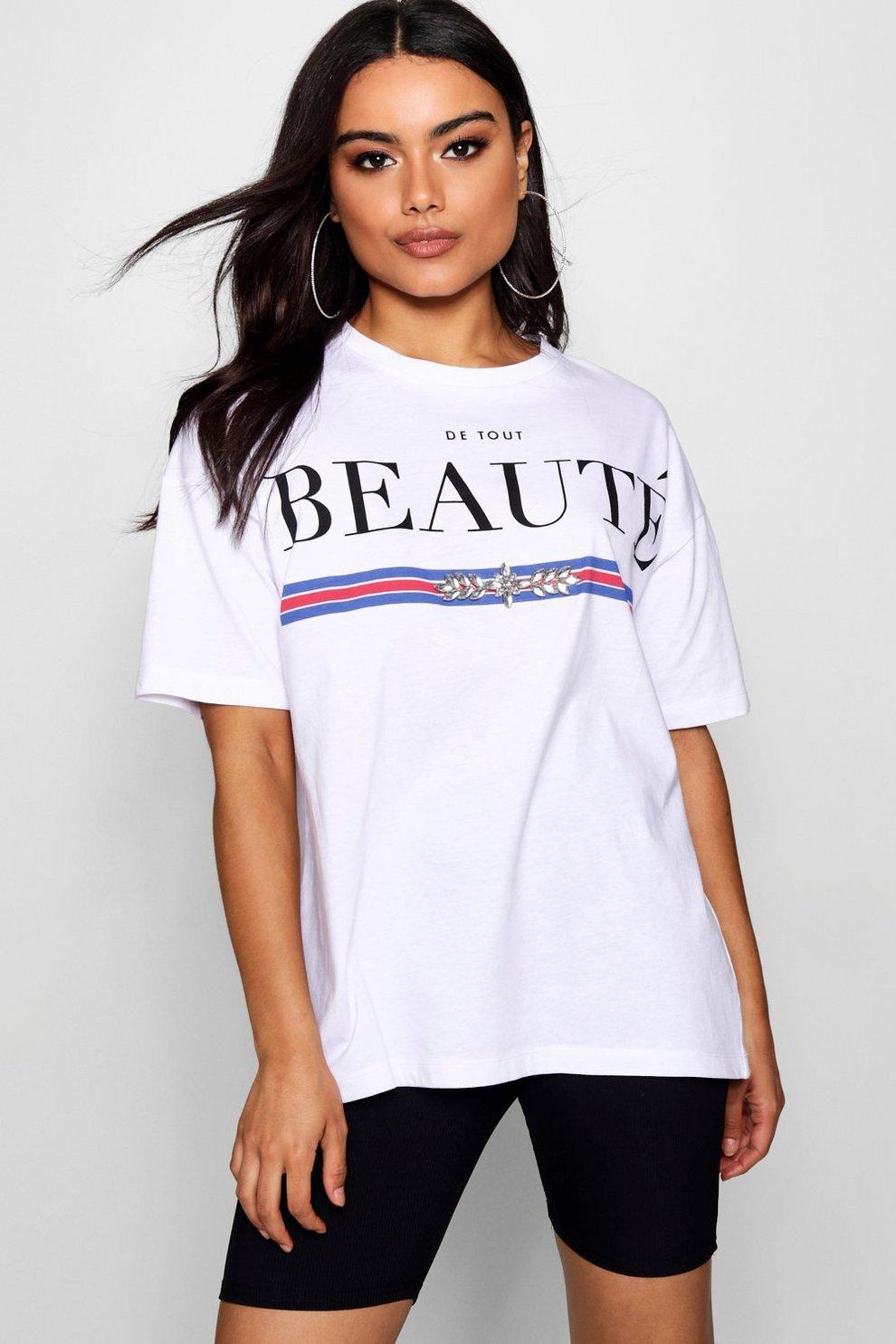 Boohoo Beaute Diamonte Slogan Tee Outlet Discounts LAZy3CB