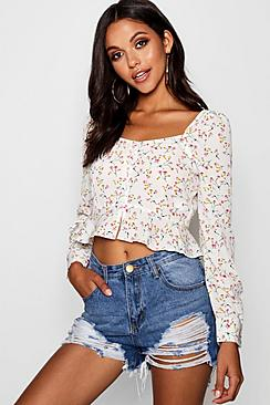 Bluse mit Blumen-Print und Knopfleiste - Boohoo.com