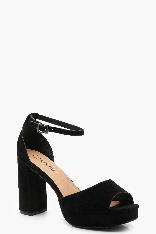 Купить Heels, Туфли для широкой стопы на высоком каблуке и платформе с открытым мыском, boohoo