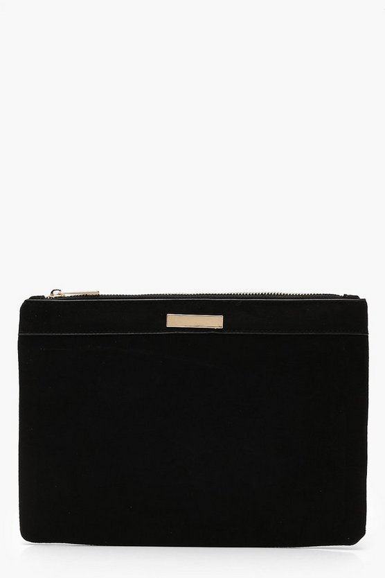 Suedette Ziptop Clutch