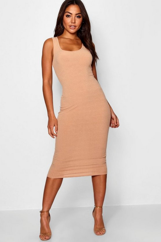 Luna Rib Knit High Neck Bodycon Dress