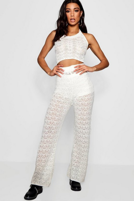 Lola Wide Leg Crochet Knitted Co-ord
