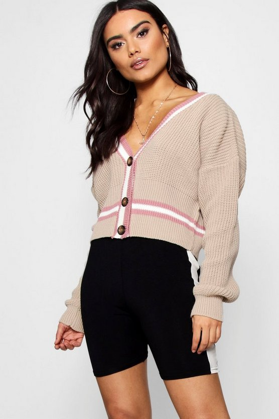 Lily V-Neck Plunge Tipped Crop Cardigan