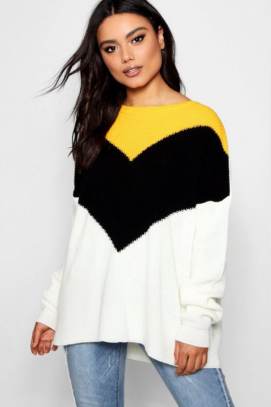 Ava Chevron Colour Block Jumper