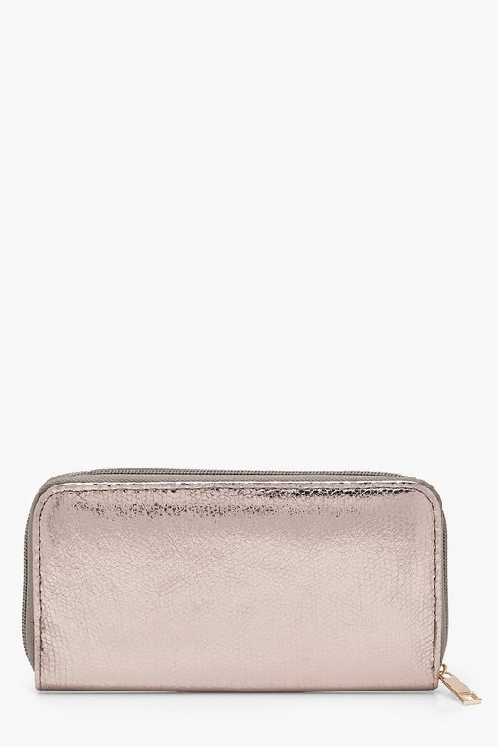 Amy Metallic Snake Effect Ziparound Purse