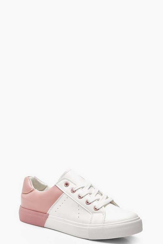 Holly Contrast Basic Trainers by Boohoo